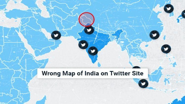 ٹیوٹر کا غلط ہندوستانی نقشہ