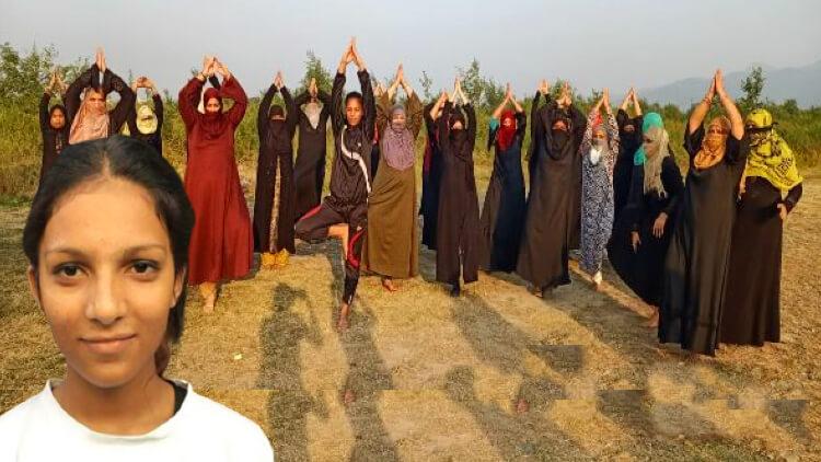 رہنما' کی رہنمائی میں یوگا کرتی مسلم خواتین'