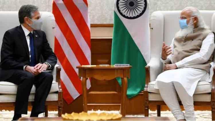 امریکی وزیر خارجہ بلنکن  وزیراعظم نریندر مودی کے ہمراہ